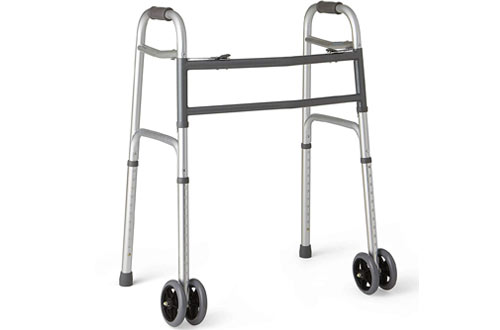 Medline Bariatric Folding Walker with Wheels and Plastic Handle