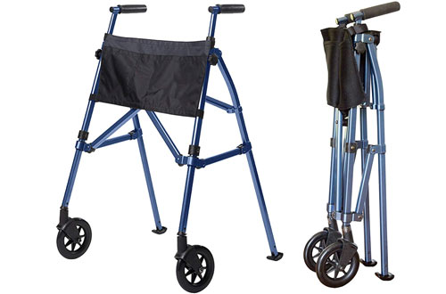 Lightweight Folding & Height Adjustable Adult Travel Walker for Seniors