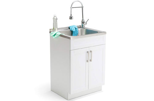 Laundry Cabinet with Faucet and Stainless Steel Sink