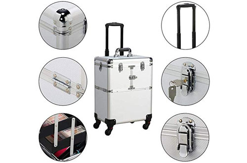 Yaheetech Professional Rolling Cosmetic Train Case with Mirror