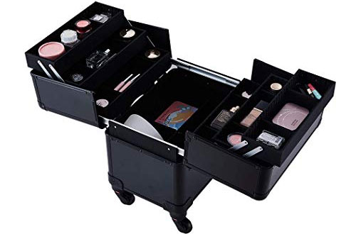 Beauty Collector Professional Folding Trays and Rolling Cosmetic Storage Organizer