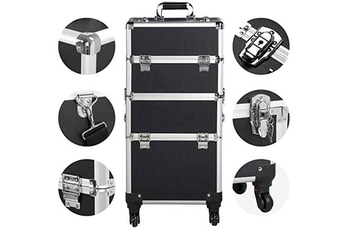 Yaheetech Professional Artist Aluminum Rolling Cosmetic Organizer Makeup Case with Wheels