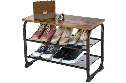 Industrial Shoe Bench Rack & 3-Tier Shoe Storage Shelf