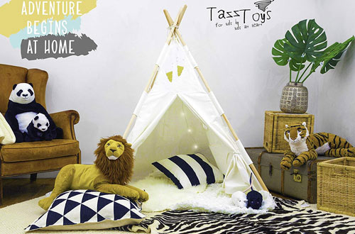 TazzToys Teepee Tent for Kids with Ferry Lights & Feathers & Waterproof Base