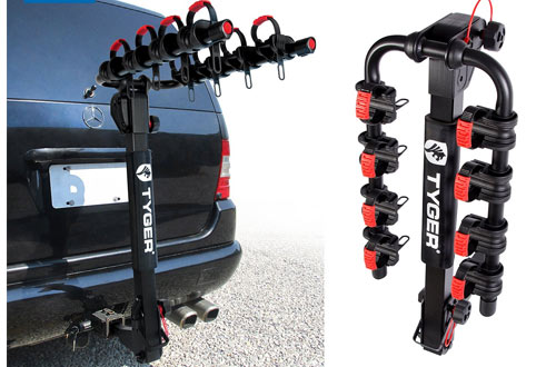 Tyger Auto Deluxe 4-Bike Carrier Rack with Hitch Pin Lock & Cable Lock