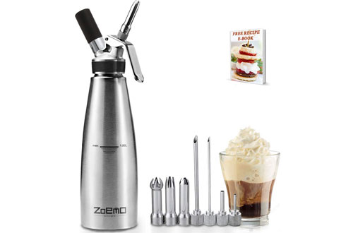 Zoemo Professional Stainless Steel Culinary Classic Whipped Cream Dispenser