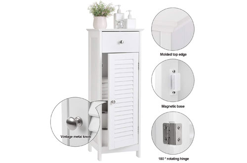 VASAGLE White Cabinet Storage with Doors and Drawers