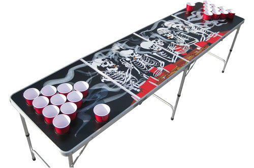 The Pong Squad Bones Skeleton Floating Beer Pong Table with Holes
