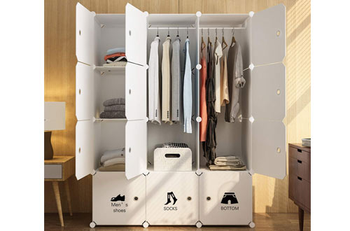 MAGINELS Wardrobe Closet Armoire Cube Storage Organizer for Clothes Bedroom with Drawer