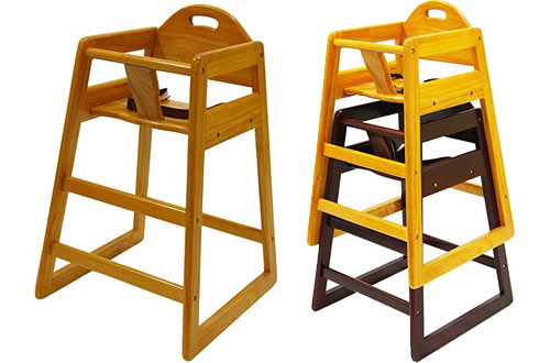 LA Baby Restaurant Natural Style Stack-able Wood High Chair