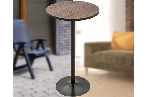 HOMCOM Rustic Industrial Bar Wood Top Table with Metal Base