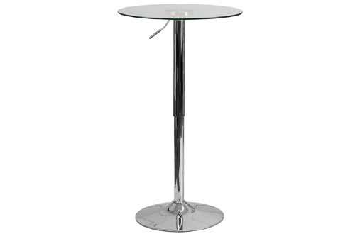 Flash Furniture 23.5-Inch Round Adjustable Height Glass Table