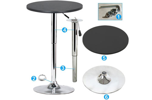 Yaheetech Round Bar Height Table MDF Top - 66Lb Capacity