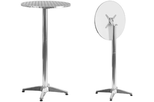 Flash Furniture Round Aluminum Folding Bar Height Table with Base
