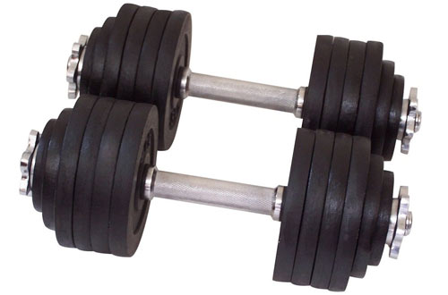 Unipack Adjustable Cast Iron Dumbbells - 105lbs