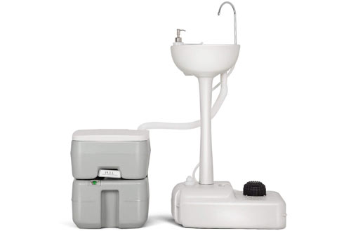 Giantex Portable Camping Sinks with Soap Dispenser & Rolling Wheels
