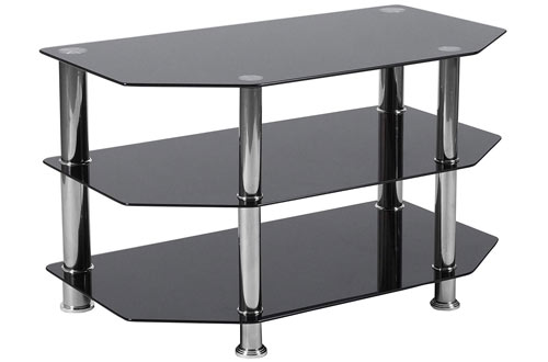 Flash Furniture Glass TV Stand with Metal Frame