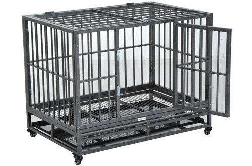 PawHut Heavy Duty Dog Crates with Wheels