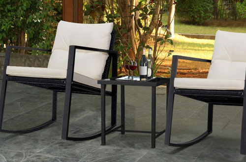 Devoko Wicker Patio Outdoor Rocking Chairs with Glass Coffee Table