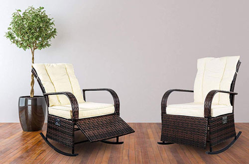 Mupater Outdoor Patio PE Rattan Wicker Rocking Chairs