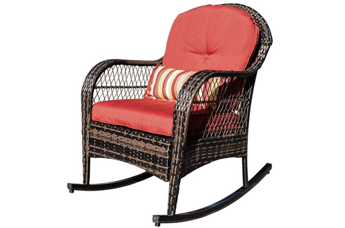 Sundale Outdoor Patio Rattan Wicker Rocking Chairs