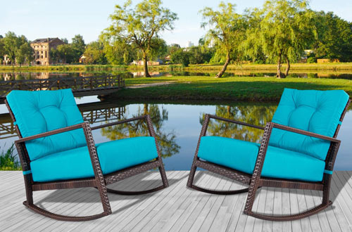 Incbruce Outdoor Patio Rocking Chair Bistro Set