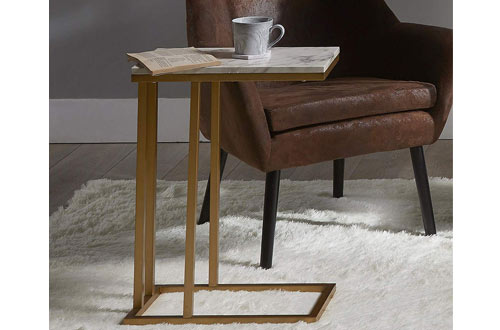 Versanora Faux Marble /Brass Marmo C Side Tables