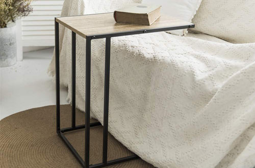 C-Hopetree Modern Industrial Wood C Side Tables for Small Space