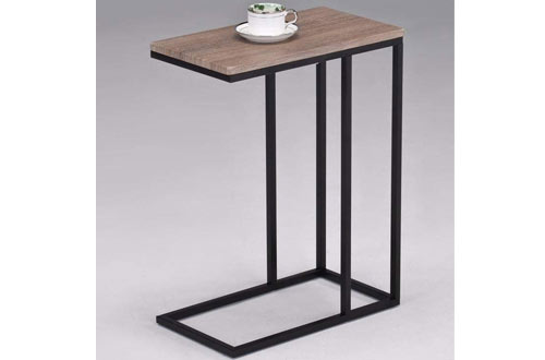 eHomeProductsReclaimed Wood Look Finish Chrome Snack Side End Table