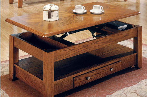 Logan Solid Wood Lift Top Coffee Tables with Storage Drawers & Bottom Shelf