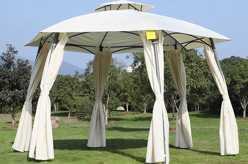 Patio Gazebo Pavilion Canopy Tent with Curtains