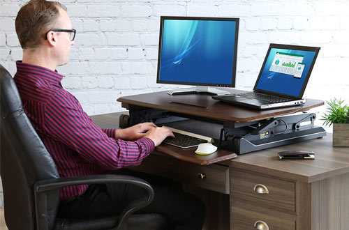 Seville Classics AIRLIFT Ergonomic Standing Desk Converter Workstation