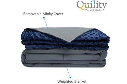 Quility Premium Full-size Weighted Blanket & Removable Cover for Adults