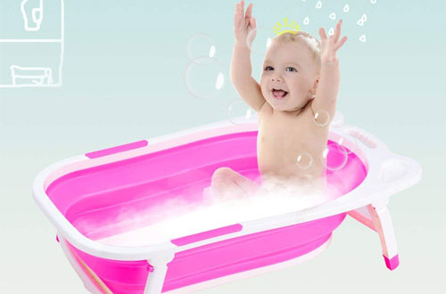 BABY JOY Collapsible Baby Bath Tubs - Portable Folding Shower Basin