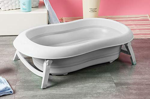 Baby Brielle Portable Collapsible Infant to Toddler Bath Tub with Cushion Insert & Water Rinser