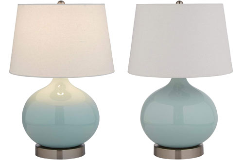 Stone & Beam Round Ceramic Table Lamp with Light Bulb and Lamp Shade