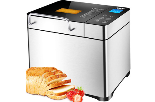 KBS Automatic 2LB Stainless Steel Bread Maker with LCD Display Touch Control
