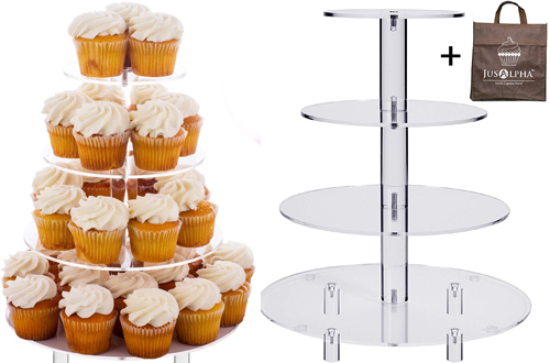 Jusalpha 4 Tier Acrylic Glass Round Cake Stands & Dessert Stand