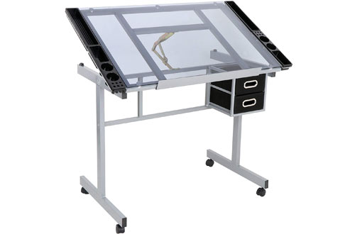 ZENY Glass Top Drawing Desk - Tempered Glass Top Art Drafting Desk