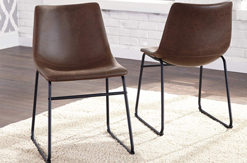 Ashley Furniture Mid Century Modern Dining Chairs - Brown Faux Leather Bucket Seat