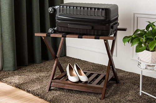 AmazonBasics Folding Wooden Suitcase Stand - Luggage Racks with Shelf