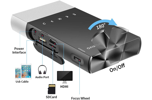 Vamvo 1080p Ultra Mini Portable Projector Supports iPhone, Android, Laptop, PC for Outdoor