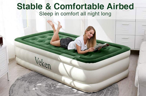 Veken Twin Air Mattress & Inflatable Elevated Airbed with Flocked Top