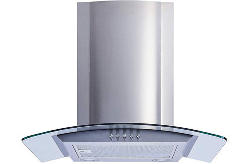 Winflo New 30-Inch Convertible Stainless Steel & Tempered Glass Wall Mount Range Hoods with Aluminum Mesh filter