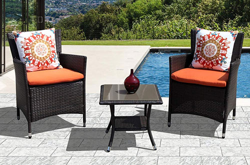Super Patio Outdoor Round Wicker End Table & Rattan Glass Top Coffee Table