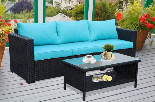 Rattaner Outdoor Wicker Coffee Table with Storage