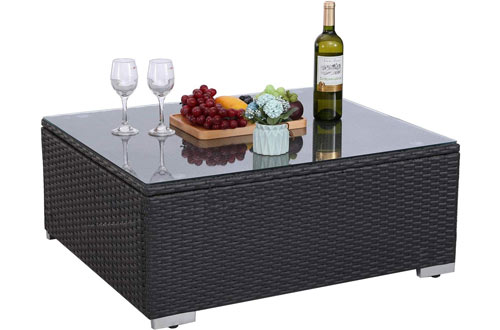 HTTH Modern Furniture Wicker Table with Glass Top