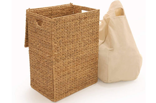 Seville Classics Foldable Water Hyacinth Portable Wicker Hampers