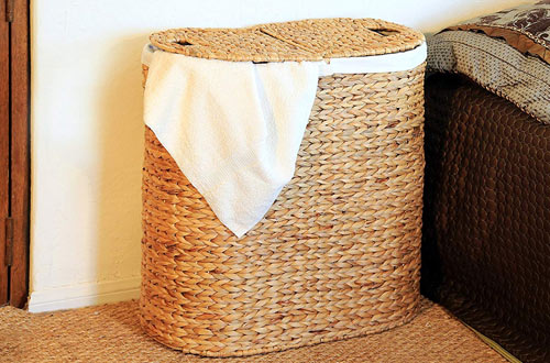 Seville Classics Water-Hyacinth Oval Double Laundry Hamper