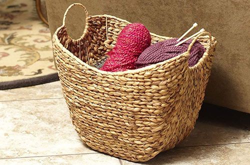 Household Essentials Tall Water Hyacinth Wicker storage Basket with Handles